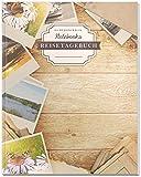 DÉKOKIND Reisetagebuch: DIN A4, 100+ Seiten, Register, Vintage Softcover | Perfekt als Abschiedsgeschenk | Motiv: Polaroid Photo