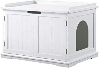Unipaws Cat Litter Box Enclosure, Litter Tray Cover,Washroom Storage Bench, Indoor Cat House, Sturdy Wooden Structure Furn...
