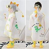 weichuang Chubasquero impermeable con diseño de dinosaurios de dibujos animados para niños, impermeable, con capucha, para niños, traje de lluvia transparente (color: dinosaurio amarillo, talla: S)