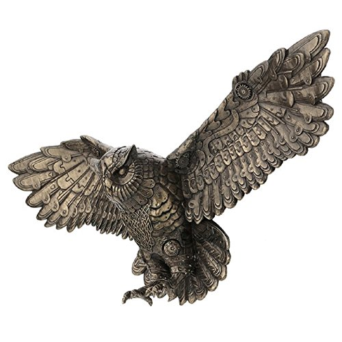Steampunk Flying Owl Wall Plaque 21.65' W Cold Cast Bronze