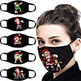 SHJIRsei 5 Stücke Halloween Unisex Mundschutz mit Motiv Waschbar Wiederverwendbar Baumwolle Mund und Nasen Maske und Nasenschutz Halstuch (Weihnachten-MM)