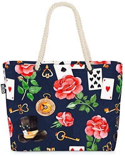 VOID Wonderland Cards Roses Bolsa de Playa 58x38x16cm 23L Shopper Bolsa de Viaje Compras Beach Bag Bolso
