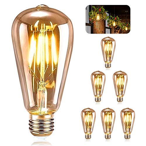 ASANMU Ampoule E27 Vintage, 6 Pièces Ampoule Edison LED E27 ST64 Lampe Décorative Rétro Edison Ampoule Vintage Antique Lampe 4W Filament Blanc Chaud pour Restaurant Café Bar Ampoules à Incandescence