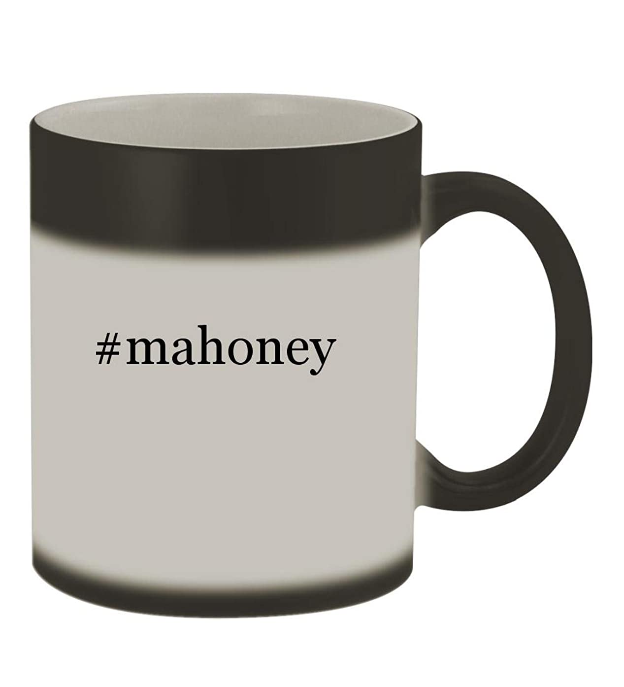 #mahoney - 11oz Color Changing Hashtag Sturdy Ceramic Coffee Cup Mug, Matte Black