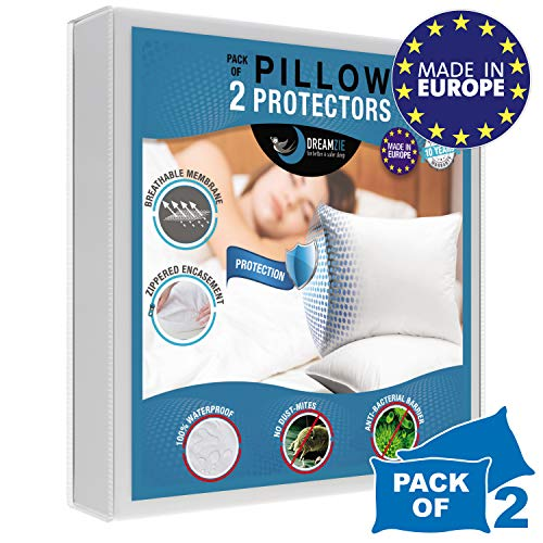 Dreamzie - Pack of 2 Pillow Protector (50 x 75 cm / 20 x 31) Waterproof with Zipper - White Fabric 100% Cotton Oeko Tex - Breathable, Hypoallergenic, Anti-Dust Mite, Anti-Bacterial