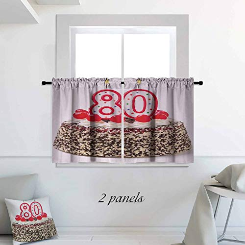 80th Birthday Small Window Tiers Birthday Party Cake with Sweet Tasty Cherries Sprinkles and Candles Image Pattern Short Bathroom Window Curtain 30 x 30 inch Multicolor