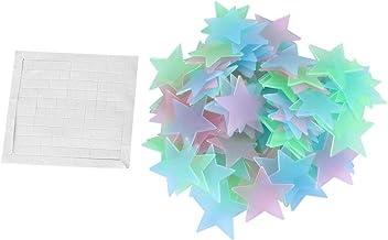 100 stks / zak 3D Sterren Glow In The Dark Lichtgevende Fluorescerende Muurstickers Gemengde Kleur
