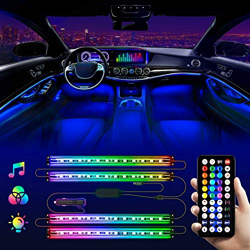LED Lights for Car - Interior Car LED Lights Strip - Waterproof 4pcs 48 LED 2 Lines Design, Controller Lighting Kits, Multi Color Music Mode for Car Accessories, Interior Car Lights Charger, DC 12V