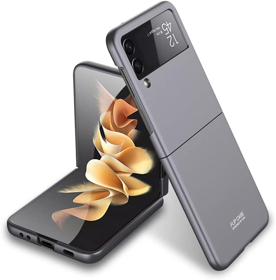 Ranyi for Samsung Galaxy Z Flip 3 5G case, Ultra Thin Matte Flip Design 360 Full Body Protection Shock Absorbing Slim Fit Flexible Hard Bumper Case for Samsung Galaxy Z Flip3 5G 2021 -Gray