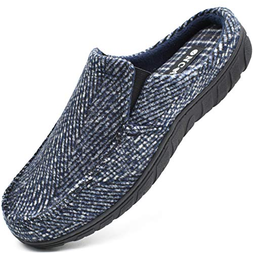 ONCAI Azul Zapatillas Casa Hombre Rayas Felpa Pantuflas de Invierno Alta Densidad Espuma de Memoria Antideslizante Cálido Forro Zapatillas Suave Vellón Lana Zuecos