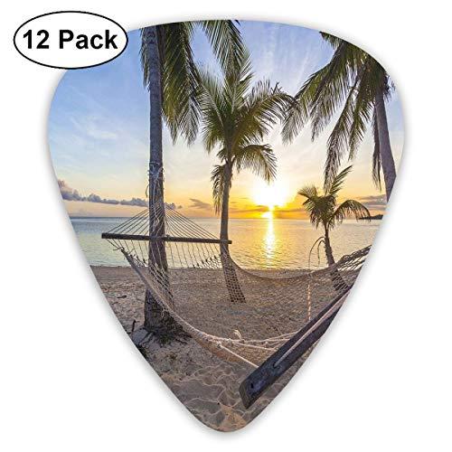 Gitaar Picks12pcs Plectrum (0.46mm-0.96mm), Paradise Beach met hangmat en kokosnoot palmbomen Horizon kust vakantie Scenery,Voor uw gitaar of Ukulele