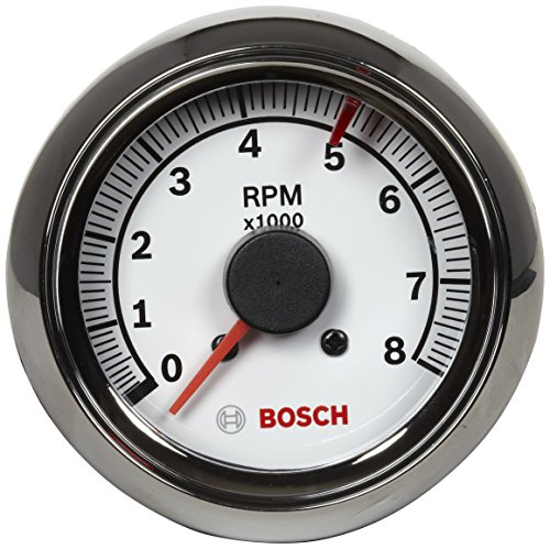 """Actron SP0F000027 Bosch Sport II 2-5/8"""" Tachometer (White Dial Face"""