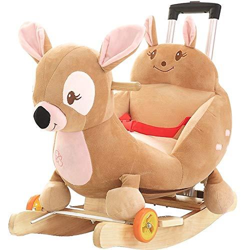 Sedia per bambini per bambini Cavallo a dondolo per bambini a dondolo in legno massiccio per bambini con musica Piccola sedia a dondolo per bambini giocattolo con ruota universale con asta di spinta
