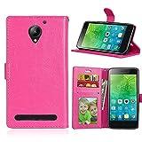 ShuiSu Funda con tapa para Lenovo Vibe C2 / C2 Power, cuero sintético de alta calidad, cierre magnético de silicona suave, con función atril, bolsillos para tarjetas, carcasa protectora, color rosa