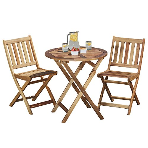 Garden Life Wooden Bistro Furniture Set Outdoor, Acacia Hardwood, Folding Patio Table with 2 Chairs