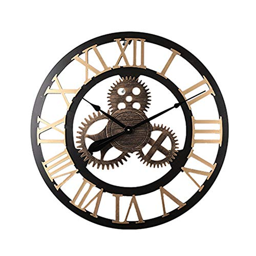 LUOYLYM Viento Industrial Mudo De Madera Reloj De Pared American Gear Reloj De Pared Retro Sala De Estar Comedor Decoración Reloj De Pared Creativo Reloj