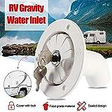 Gravity tapa de entrada de agua con bloqueo, filtro de entrada de agua dulce con cerradura para la mayoría de entradas de agua fresca en autocaravanas y barcos, blanco