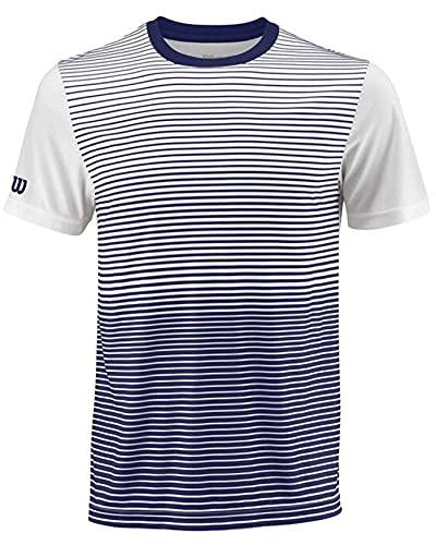 Wilson Herren M Team Striped Crew Tennis-Kurzarmshirt, Blau (Blue Depths)/Weiß, S