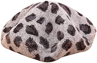 TOOGOO Spring and Winter Warm Beret Female Retro Leopard Rabbit Fur Knit Painter Style Hat Pumpkin Hat Ladies Khaki
