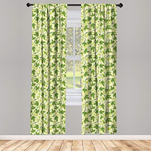 ABAKUHAUS Vino Juego de 2 Paños Cortinas, Flora Salto Salud, Tratamiento de Ventana para Habitación y Dormitorio, 150 cm x 245 cm, Multicolor