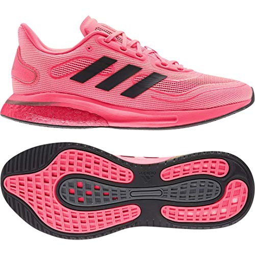 adidas womens Supernova Running Shoe, Signal Pink/Black/Copper, 7 US