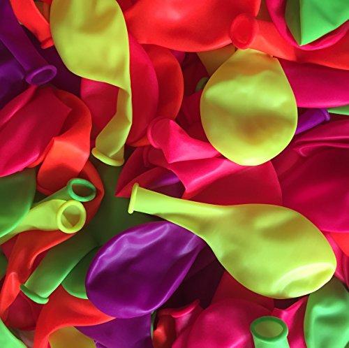 100 Luftballons * NEON * mit 85cm Umfang // mit Schwarzlicht UV Effekt // Neonfarben Luftballon Ballons Deko Geburtstag Kindergeburtstag Party