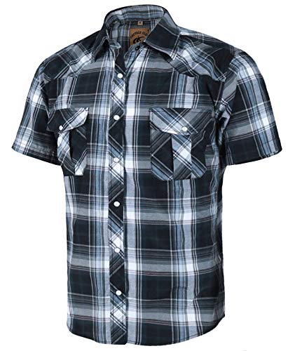 COEVALS CLUB Men's Western Plaid Pearl Snap Buttons Two Pockets Casual Short Sleeve Shirts (L, 9#Gray,Black)