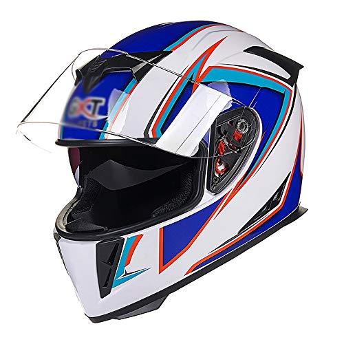 H-ei Casco de Casco de la Motocicleta, de la Cara Llena del Casco, Doble diseño de la Lente, Disponible en Todas Las Estaciones (Color : White Blue, Size : Medium)