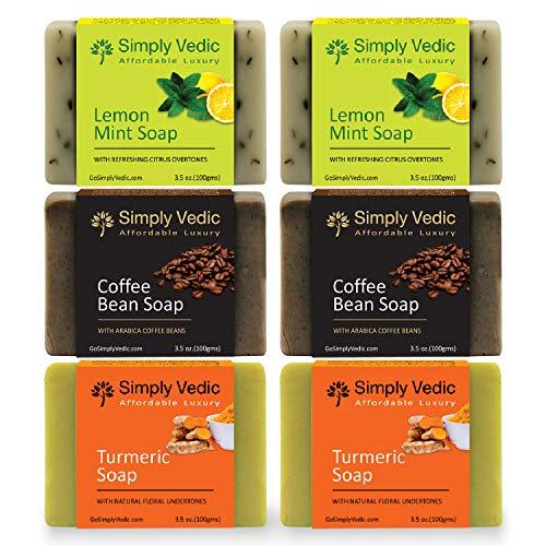 Simply Vedic Ensemble de 6 barres de savon aux herbes pour le corps, les mains et le visage; Citron-menthe (2 pièces), grain de café (2 pièces), curcuma (2 pièces) (3,5 oz x 6)