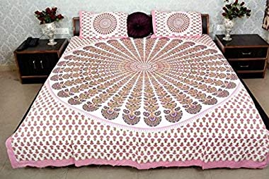 AMANIERA Home Furnishing 100% Pure Cotton Pink Morphankh Print 250 TC King Size Luxury Series Comfortable Double Bedsheet Fla