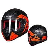 Dgtyui Casco moto integrale Casco ABS casque moto capacete casco da corsa su strada fibbia facile e veloce, paralume di ventilazione - arancioneX M