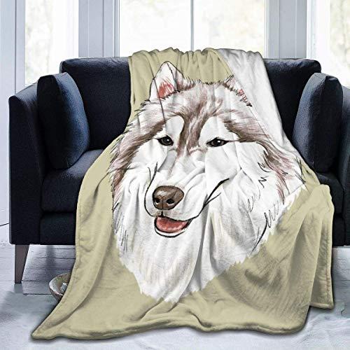 Nat Abra Husky Grey Green Cute Dog Head Portrait Home Fashion Designs Flannel Fleece Microfiber Throw Blanket Lightweight Cozy Couch Bed Super Soft 50x60in