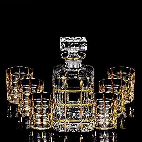 Conjunto De Botellas Conjunto 7piece Whisky, Botella De Cristal De Cristal Libre De Plomo Whisky Botella De Vino Tinto Vaso De Whisky De Regalo Jarra De Casa Hilo De Oro Cepillado