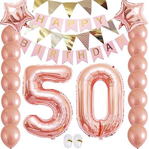 50th Anniversary Balloons 50th Birthday Rose Gold Balloons Giant Number 50 Rose Gold Balloons
