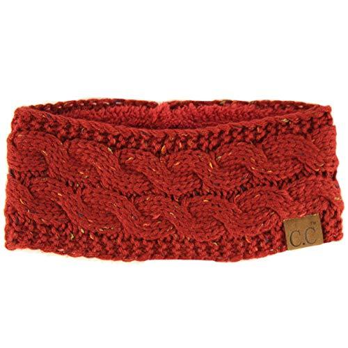 C.C Winter CC Confetti Warm Fuzzy Fleece gefüttert dick gestrickt Stirnband Stirnband Mütze Mütze - Rot - Einheitsgröße