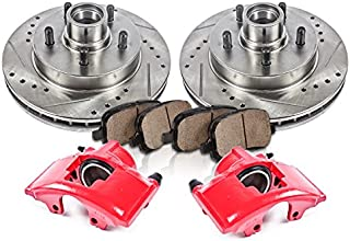 Callahan CCK12182 FRONT Powder Coated Red [2] Calipers + [2] Rotors + Quiet Low Dust [4] Ceramic Pads Performance Kit