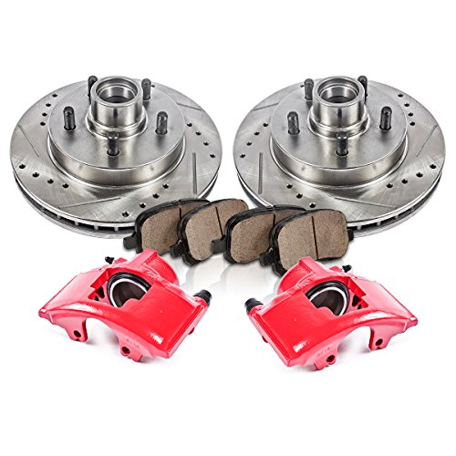 CCK12182 FRONT Powder Coated Red [2] Remanufactured Calipers + [2] Rotors + Quiet Low Dust [4] Ceramic Brake Pads