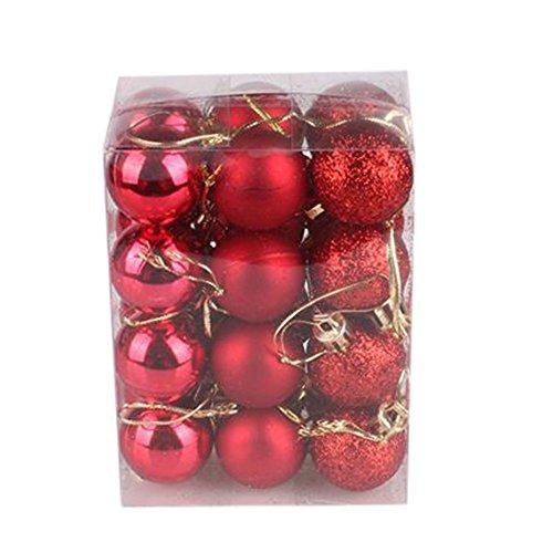 IHEHUA Weihnachtskugeln Weihnachtsbaumschmuck Baumkugeln Christbaumanhänger Geschmückter Zubehörteilen Weihnachtsdeko Weihnachtsbaum Basteln Christbaumkugeln Set 24Pcs