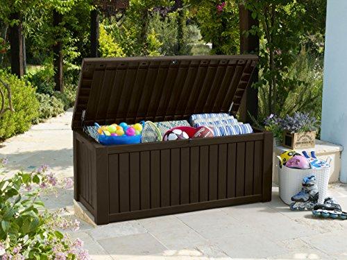Koll Living Merano Opbergbox/kussenbox, 570 liter, met ventilatie daardoor geen slechte geur/schimmel, moderne houtlook in de kleur bruin, deksel belastbaar tot 250 kg (zitplaats voor 2 personen)