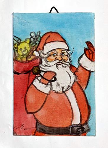 Weihnachtsmann-Gemälde Leinwand auf Karton, Aquarell,handgemacht,Maße cm10x15x0,2 cm.MADE in ITALIEN Toskana Lucca, zertifiziert.