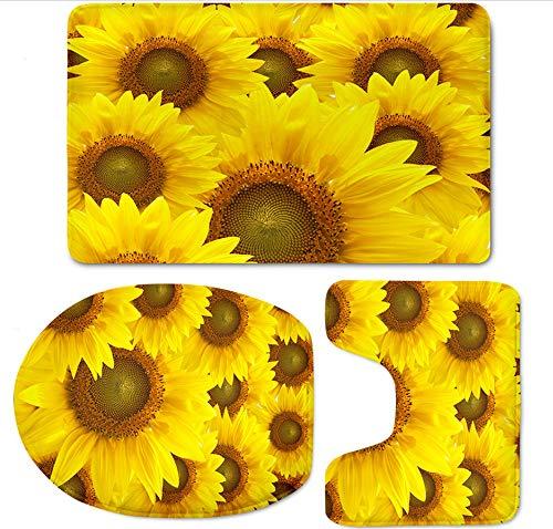 Eazyhurry Flanelle 3 pcs Lot de Tapis de Bain Motif 3D Belle Fleur Tapis de Bain Tapis + Pied + Tapis pour abattant WC Tapis, Tournesol, 79 x 49 cm + 49 x 49 cm + 34.5 x 44.5 cm