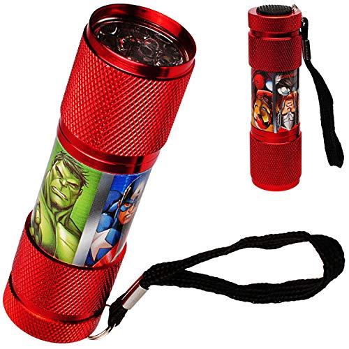 alles-meine.de GmbH Taschenlampe LED - Avengers - aus Metall - Mini Lampe / Schlüsselanhänger - 9 Fach LEDlicht - Licht Auto Kindertaschenlampe für Jungen - Metalltaschenlampe - ..