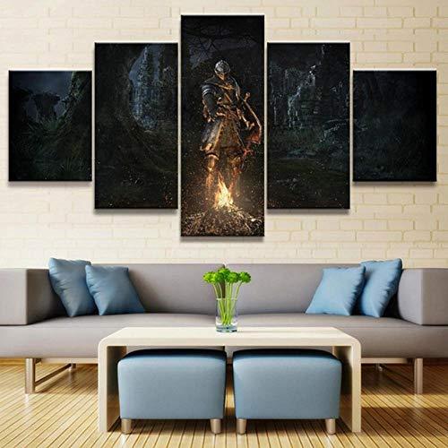 Cyalla Leinwanddrucke Leinwand Gedruckt Malerei 5 Panel Spiel Schwertkämpfer Poster Wandkunst Dekoration Wohnzimmer Modulare Bild Rahmen Drucke Auf Leinwand 200X100Cm