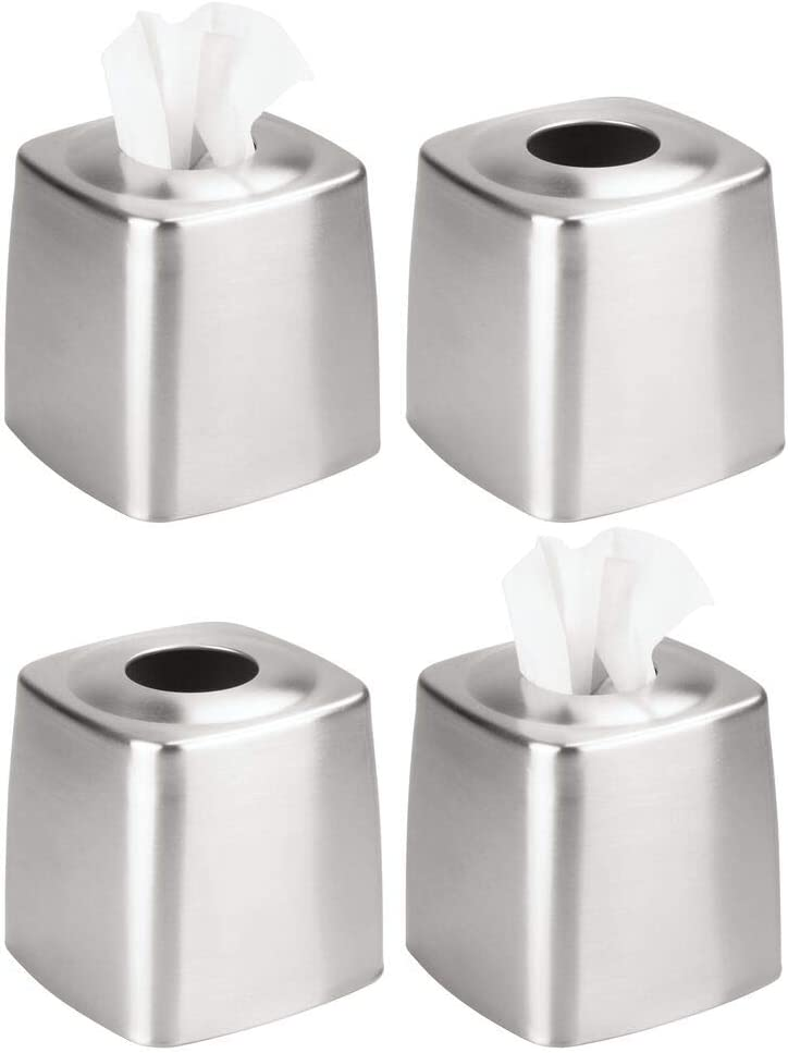 Financial sales sale mDesign Metal Square Facial Tissue Box Bathroom Holder Mesa Mall for Cover