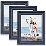 LaVie Home 8x10 Picture Frames (3 Pack, Blue Wood Grain) Rustic Photo Frame Set with High Definition Glass for Wall Mount & Table Top Display, Set of 3 Elite Collection