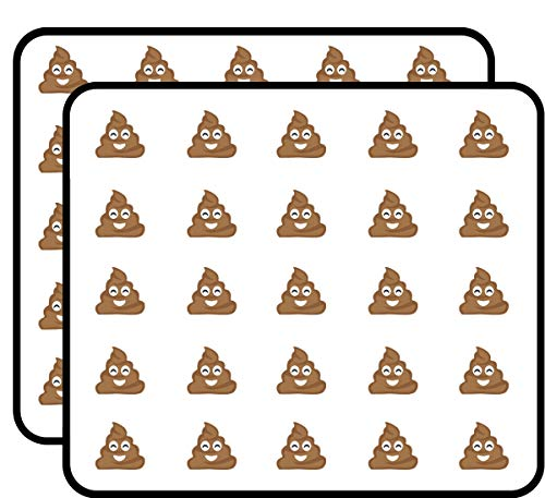 Poop Emoji Sticker for Scrapbooking, Calendars, Arts, Kids DIY Crafts, Album, Bullet Journals 50 Pack
