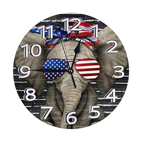 Reloj de pared silencioso moderno de 10 pulgadas con diseño de elefante americano sin garrapatas números árabes reloj decorativo de cuarzo