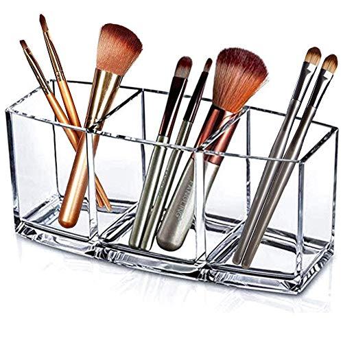 Organiseur pour pinceaux de maquillage – 3 compartiments en acrylique transparent pour salle de bain, bureau, cuisine, etc.