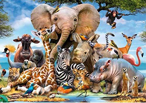 El Bosque Del Mundo Animal El Elefante La Cebra El Mono Bordado De Diamantes Multicolor 5D Pintura De Diamante Diam