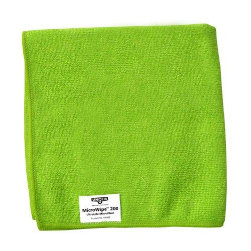 Unger ME400 MicroClean - Paño de microfibra UltraLite, 40,6 cm de largo x 40,6 cm de ancho, color verde (caja de 10)